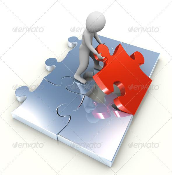 3d Man and Last Puzzle Peace - 3D Backgrounds