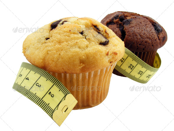 Muffins and Measuring Tape - Stock Photo - Images