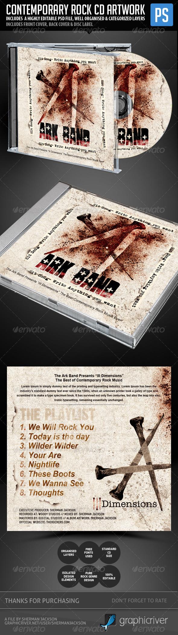 Contemporary Rock CD Artwork Template - CD & DVD Artwork Print Templates