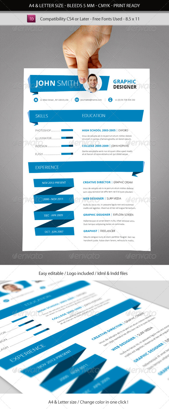 indesign resume template a4  u0026 letter size by franceschi rene