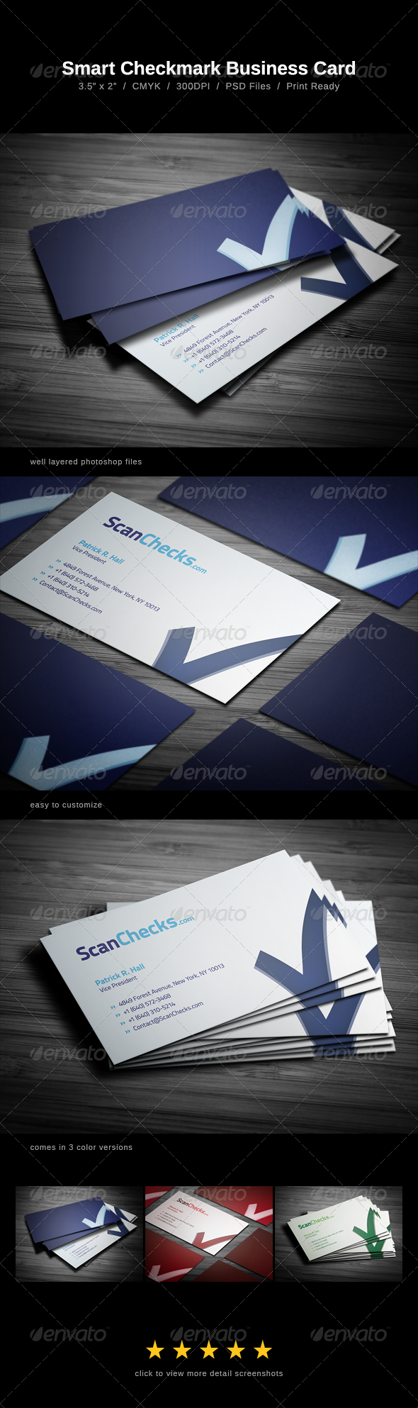 Smart Checkmark Business Card - Corporate Business Cards