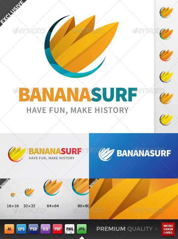 Banana Surf Logo - Nature Logo Templates