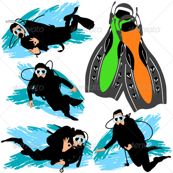 Scuba Diving Silhouettes Set - Sports/Activity Conceptual