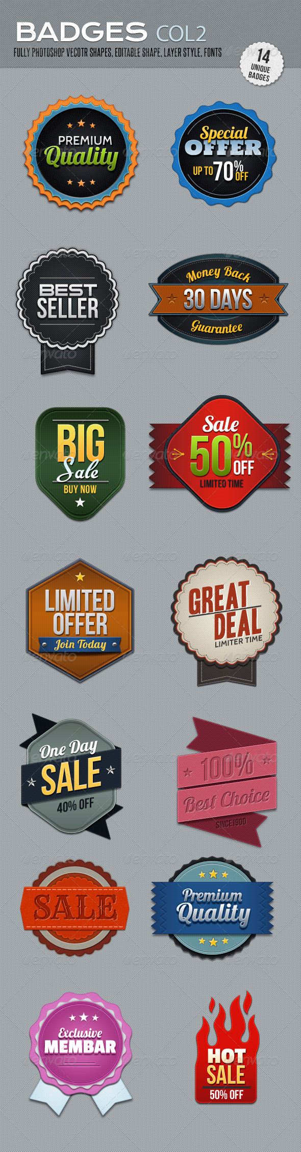 Badges col 2 - Badges & Stickers Web Elements