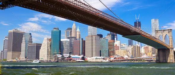 Brooklyn Bridge panorama - Stock Photo - Images