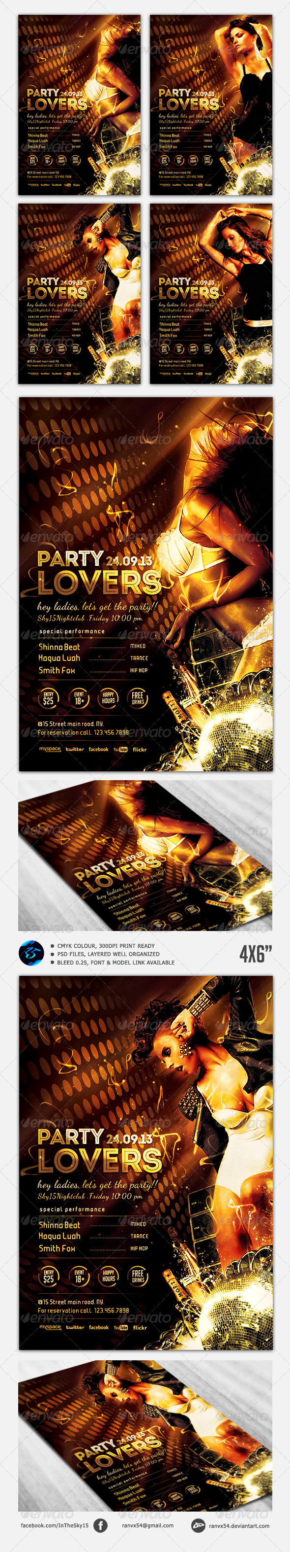 Party Lovers Flyer Template - Clubs & Parties Events