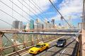 New York, Brooklyn Bridge and taxi cab
