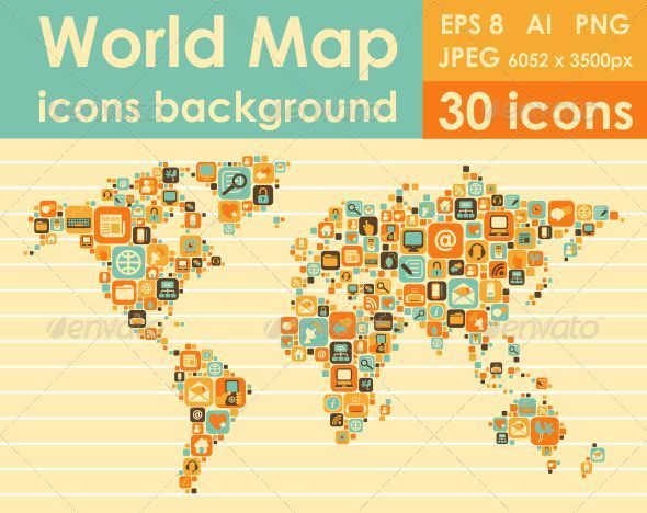World map icons by evellean graphicriver world map icons web elements vectors gumiabroncs Images
