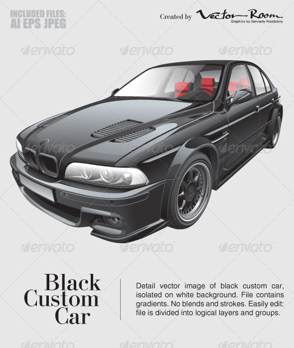Black Custom Car - Vectors