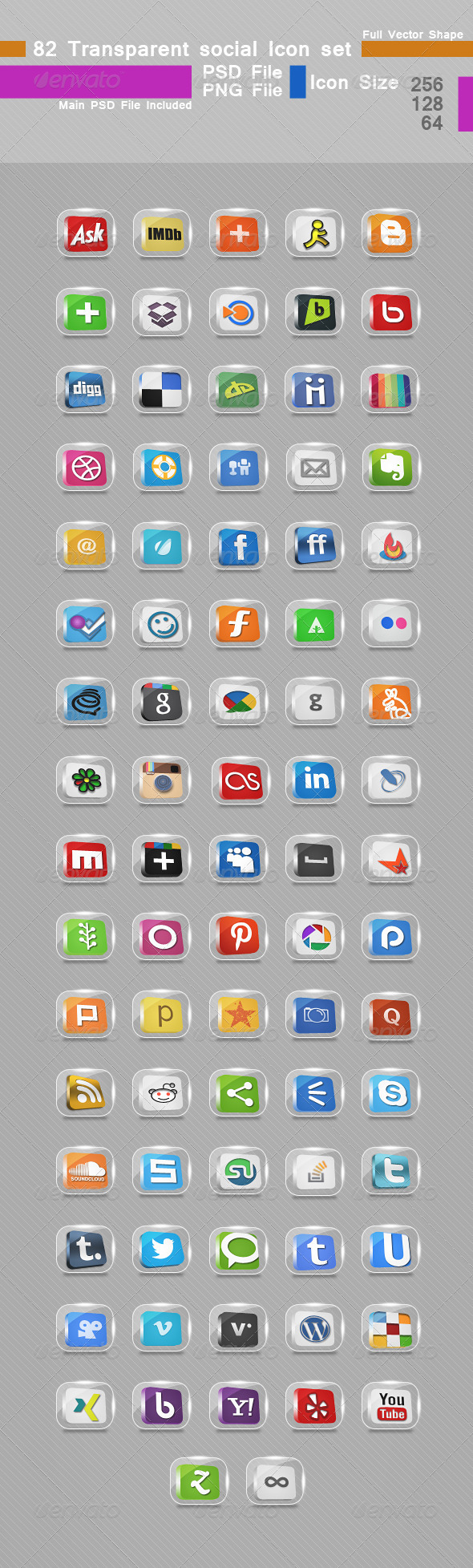 82 Transparent Social Icon set - Media Icons