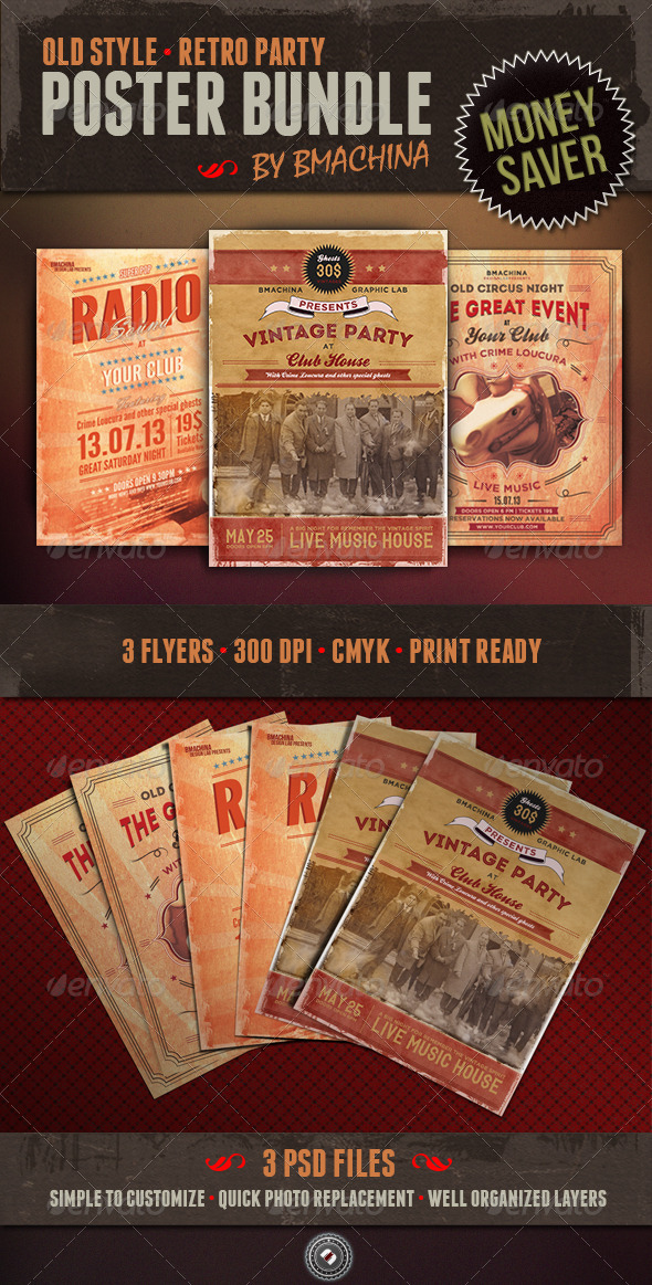 Old Style Poster Bundle - Clubs & Parties Events