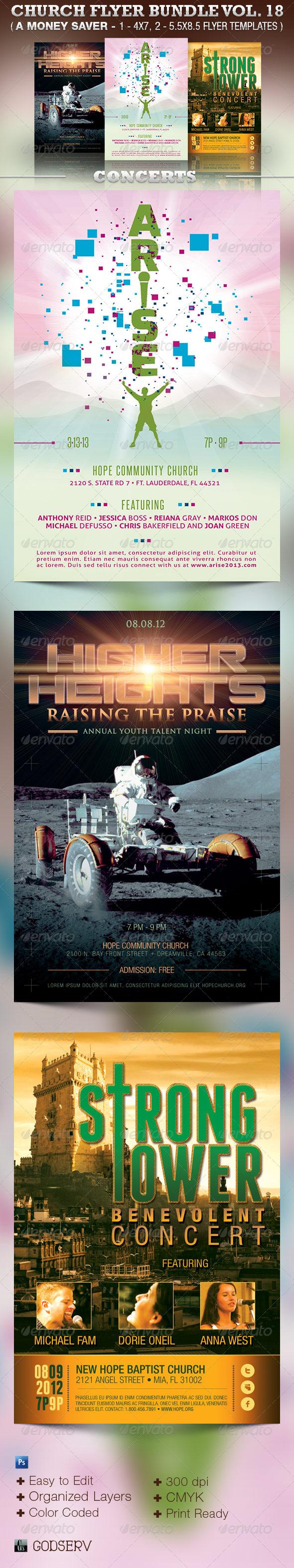Concert Church Flyer Template Bundle Vol 18 - Church Flyers