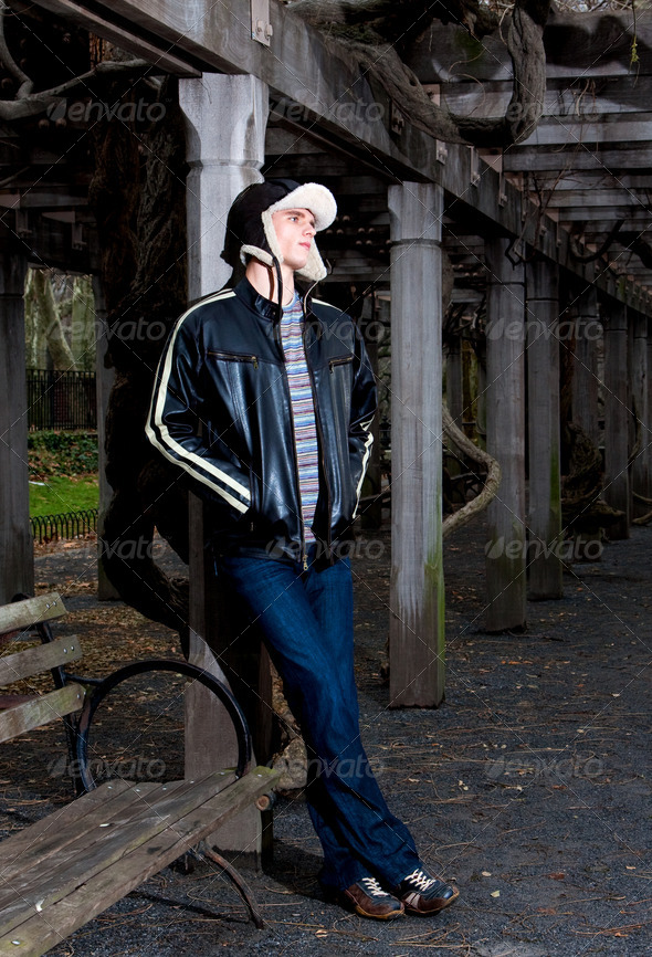 Handsome man leaning - Stock Photo - Images