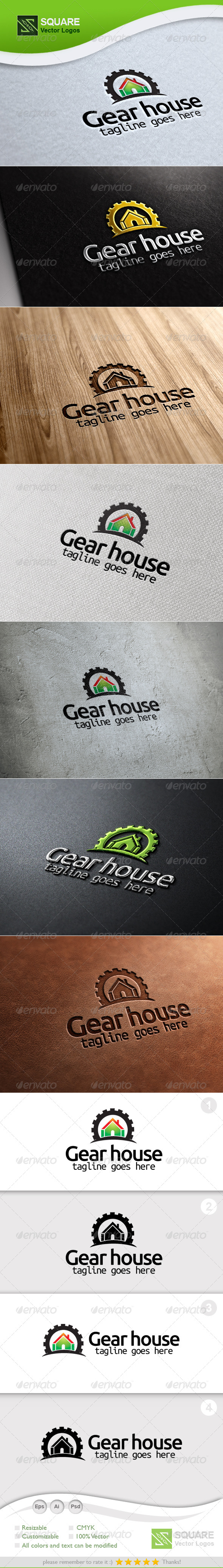 Gear, House Vector Logo Template - Symbols Logo Templates