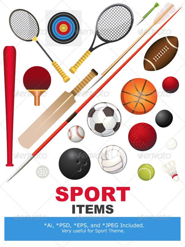 sports equipment by branca escova graphicriver