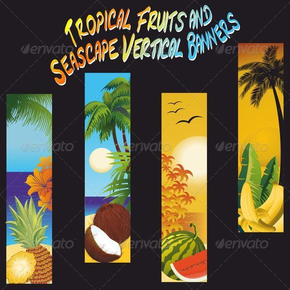 Tropical Fruits and Seascape Banners - Landscapes Nature