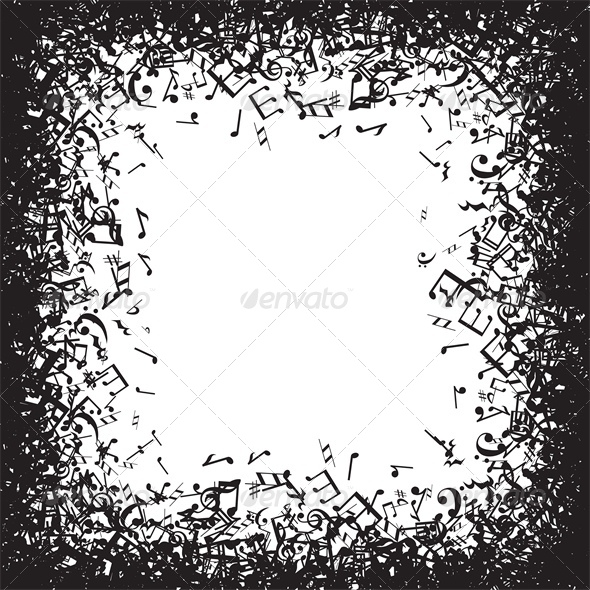 background with music notes frame backgrounds decorative - Music Note Picture Frame