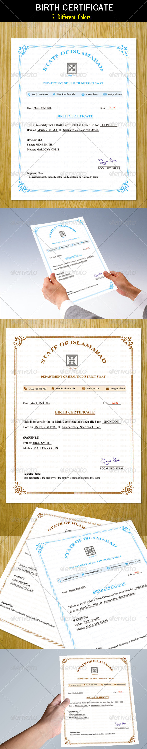 Birth Certificate - Certificates Stationery