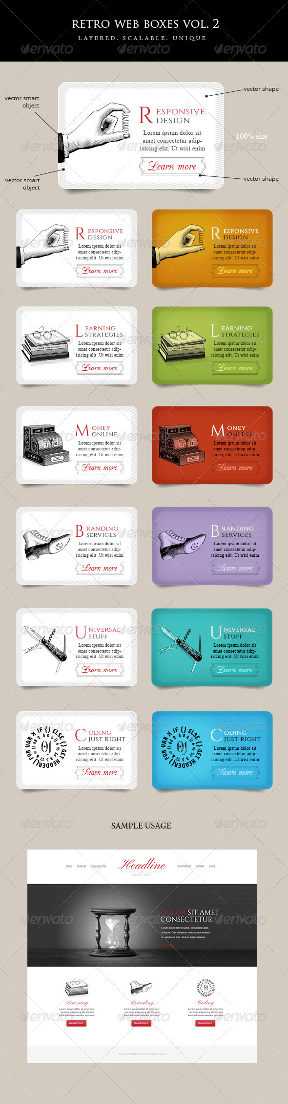 Vintage Web Boxes with Icons Vol 2 - Banners & Ads Web Elements