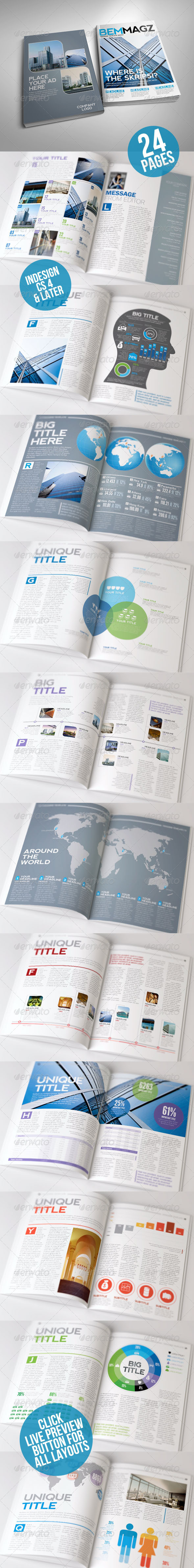 BemMagz Magazine Template with Infographics - Magazines Print Templates