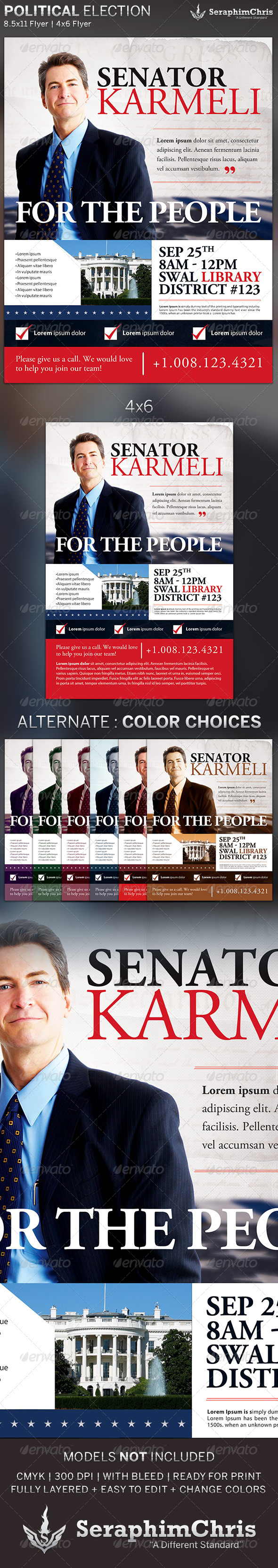 political election flyer template by seraphimchris