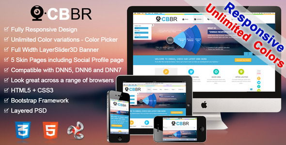 CBBR-Unlimited Colors Responsive DNN Skin - Miscellaneous CMS Themes