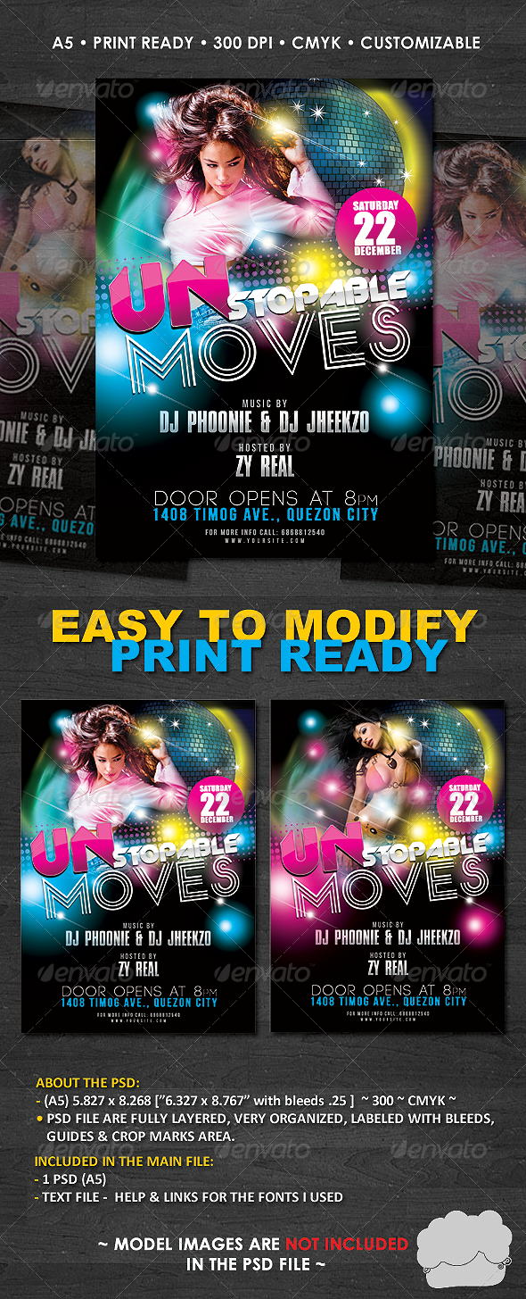 Modern Dance Club Flyer Template - Clubs & Parties Events