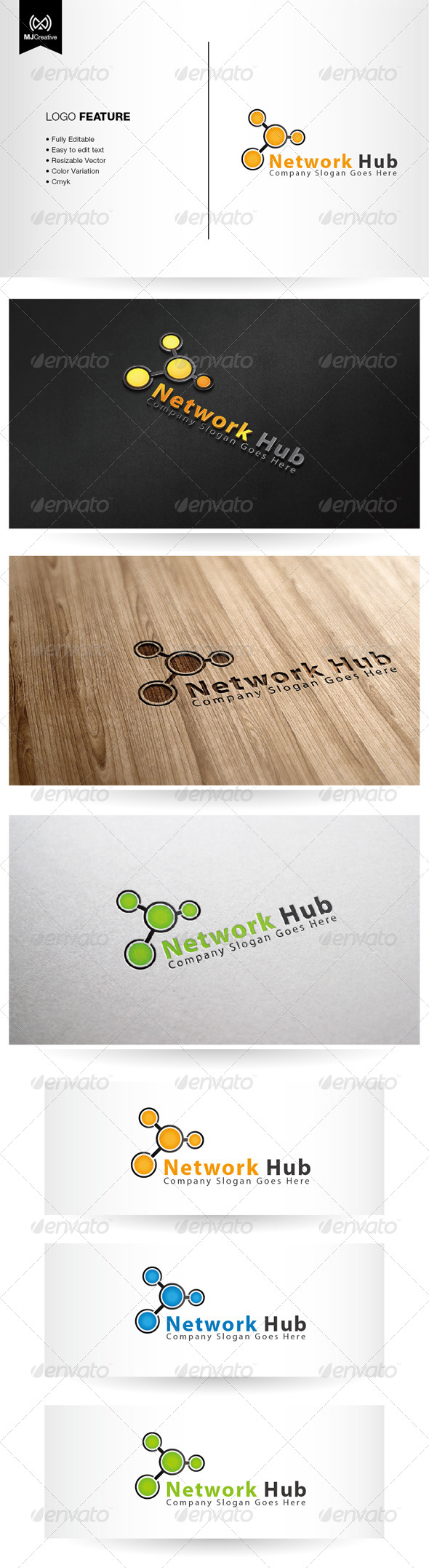Network Hub Logo - Vector Abstract