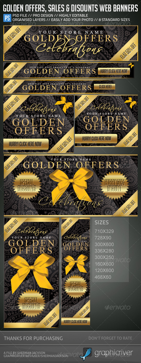 Golden Offers, Sales & Discounts Web Banners - Banners & Ads Web Elements