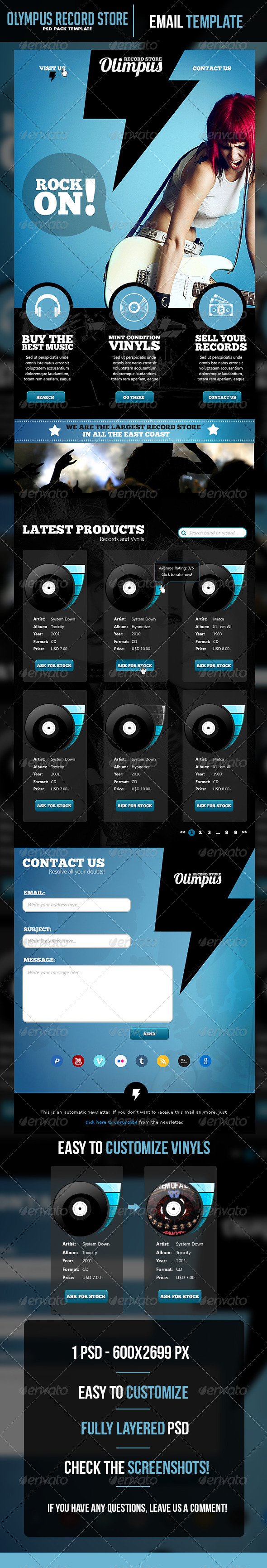 Olympus Record Store Email Template - E-newsletters Web Elements