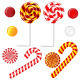 Vector Set with Different Red and White Candies - GraphicRiver Item for Sale