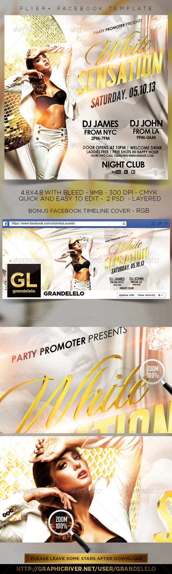 White Sensation Party Flyer + Facebook Timeline  - Clubs & Parties Events