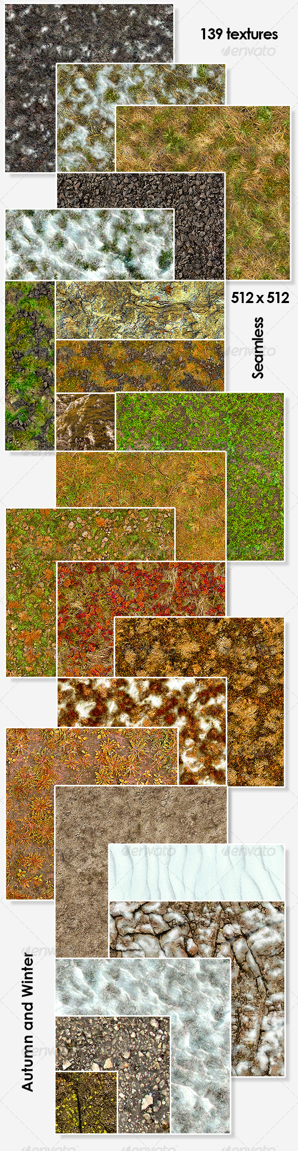 Autumn and Winter Seamless Textures Pack - 3DOcean Item for Sale