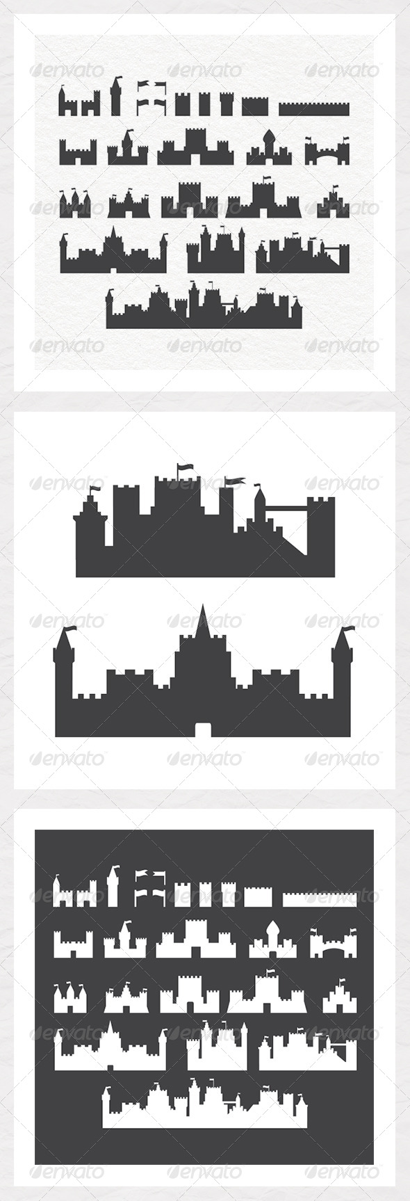 Various Castle Silhouettes  - Buildings Objects