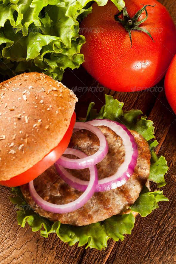 Homemade Turkey Burger on a Bun - Stock Photo - Images
