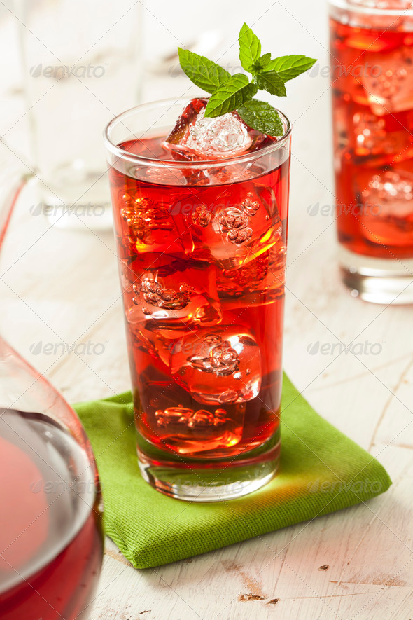 Cold Refreshing Berry Hibiscus Ice Tea - Stock Photo - Images