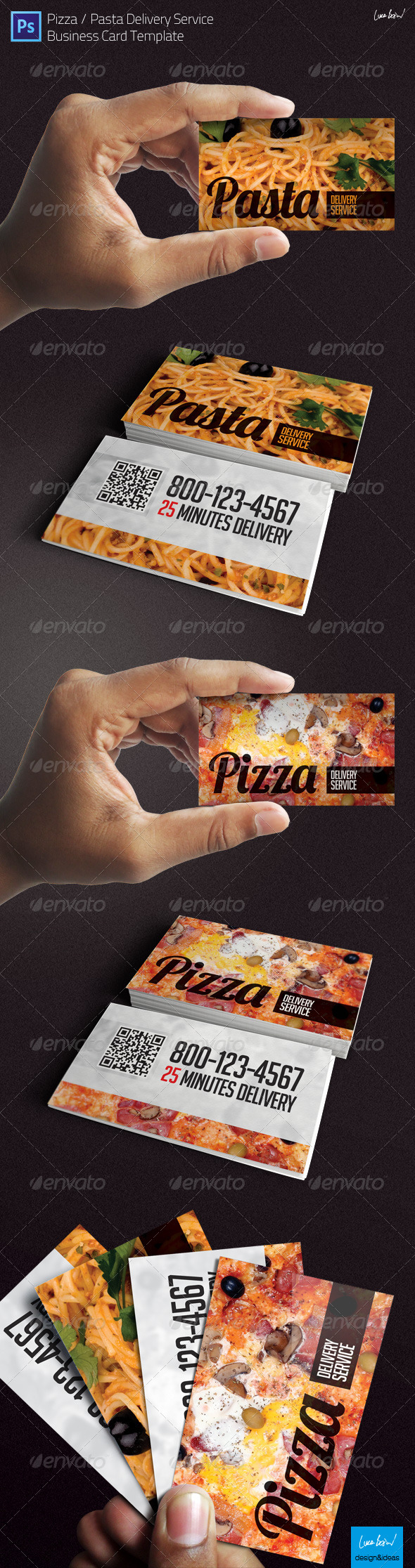 Business card pizza pasta food delivery service by looca business card pizza pasta food delivery service industry specific business cards colourmoves Choice Image
