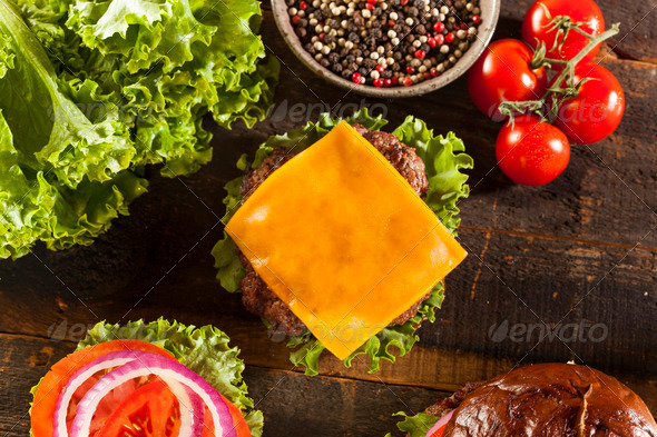 Gourmet Cheese Burger on a Pretzel Roll - Stock Photo - Images