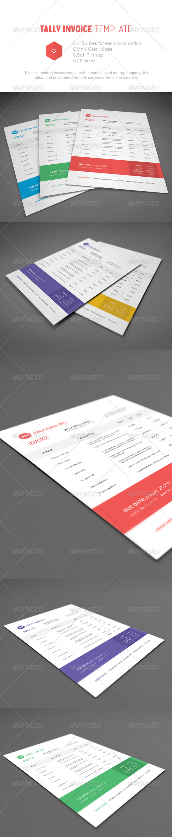 Tally Invoice Template - Proposals & Invoices Stationery