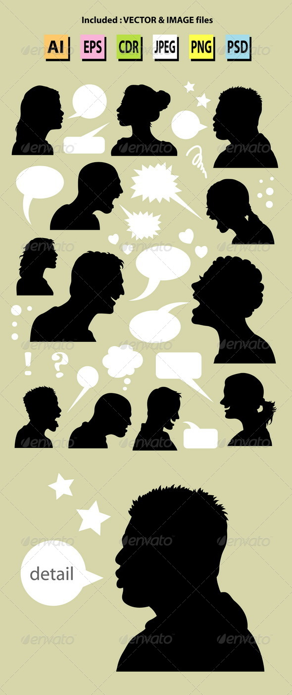People Talking Silhouettes - People Characters
