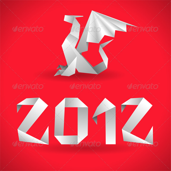Origami Dragon with 2012 Year - Christmas Seasons/Holidays