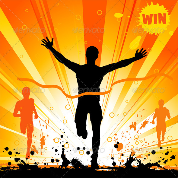 Silhouette of a Man Winner - Sports/Activity Conceptual