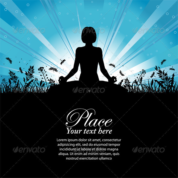 Silhouette of a Girl in Yoga pose - Sports/Activity Conceptual