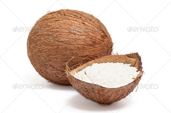 Part of coconut with powder inside shell . - Stock Photo - Images