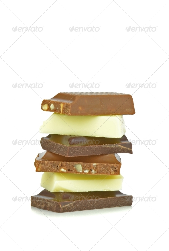 A Stack of Chocolate Chunks - Stock Photo - Images