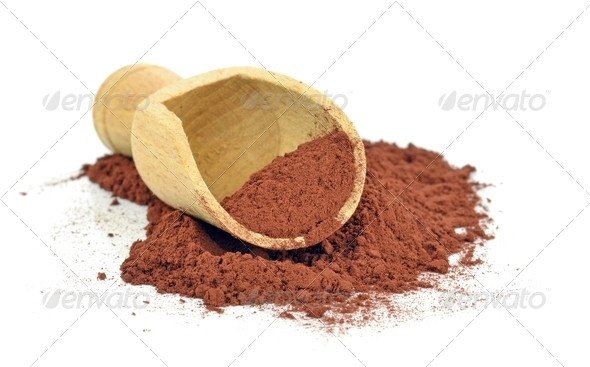 Cocoa Powder and Wooden Scoop - Stock Photo - Images