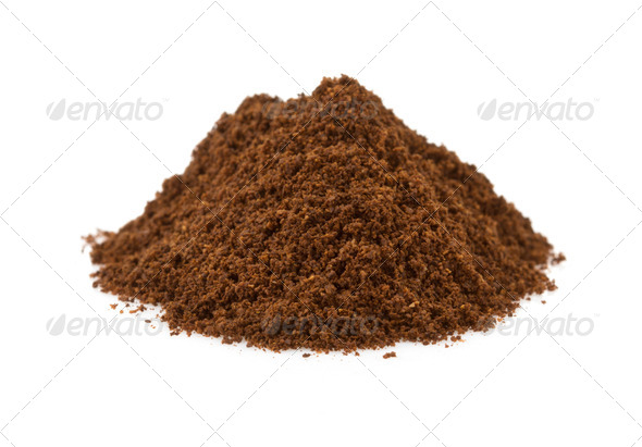 coffee grounds on white background - Stock Photo - Images