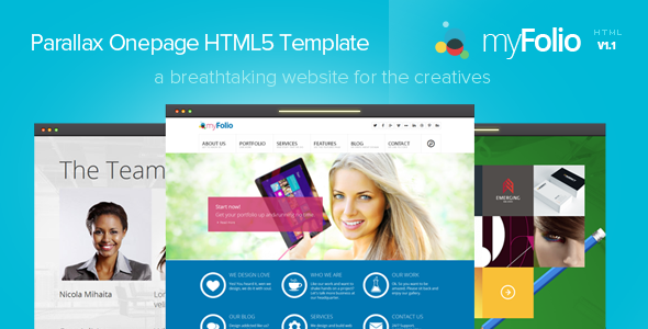 myFolio - Parallax Onepage HTML5 Template - Creative Site Templates
