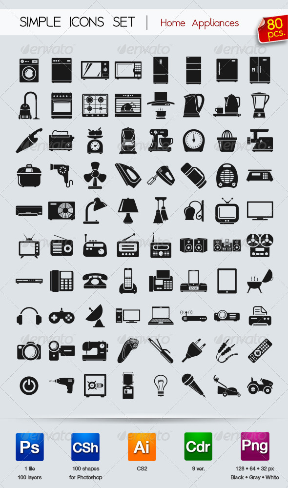 80 Simple icons • Appliances •  - Icons