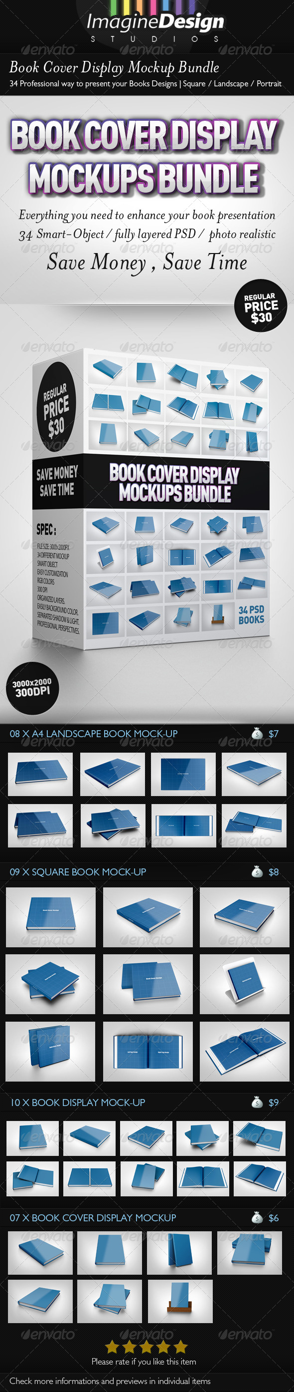 Book Cover Display Mockup Bundle - Books Print